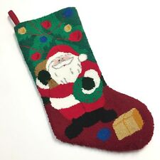 Punch Hook Christmas Stocking Santa Claus Wreath Tree Ball Ornaments Toy Sack