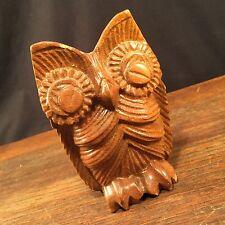 Vintage Owl Carved Wood Philippines Retro Mid Century