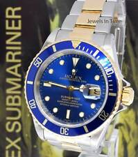 ** Rolex Submariner 18k Gold & Steel Mens 40mm Automatic Dive Watch A 16613 **