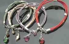 Genuine Leather Cord Bracelet with 925 Sterling Silver Clasp and Beads