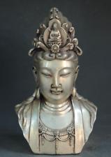 Old Chinese buddhism Silver kwan-yin GuanYin buddha head Bust Statue