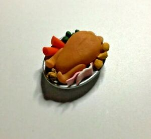 Dolls House Food. Christmas Turkey on a Platter. Handmade. 12th Scale New