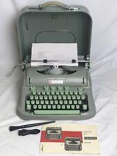 Vintage HERMES 3000 Typewriter W/ Case Key & All Accessories - Sea Foam Green