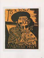 "1989 VINTAGE ""TOROS VALLAURIS 1958"" PICASSO COLOR offset Lithograph"