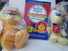 "Garfield 10"" & Odie 8"" Aurora World Plush + Merriam Webster Garfield Dictionary"