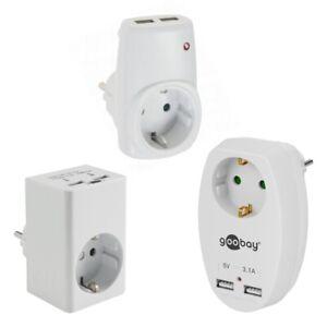 Zwischen-Stecker Steckdose mit USB Netzteil Ladeanschluss Ladegerät 2x Anschluss