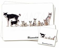 Siberian Husky Family with Love Twin 2x Placemats+2x Coasters Set in , AD-H56uPC
