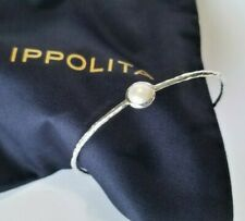 IPPOLITA - Hammered Sterling Silver Bangle Bracelet with Two Pearls! Mint! $495
