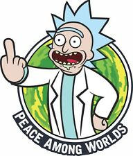 Rick and Morty Peace Among Us Middle Finger Sticker ADULT SWIM CARTOON NETWORK