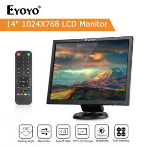 """Eyoyo 14"""" LCD TFT HDMI Monitor VGA BNC AV USB Gaming Display Screen For CCTV PC"""