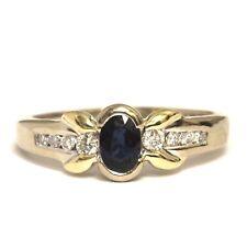 14k yellow white gold .17ct SI1 H women's diamond sapphire ring band 3.8g