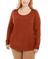 Karen Scott Womens Luxsoft Button-Shoulder Sweater Red Ochre Plus Size 0X NWT