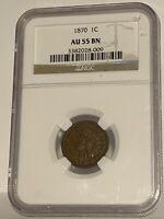 1870 1C NGC AU 55 Indian Head Cent, Better Semi-KEY Date Choice AU Penny Coin