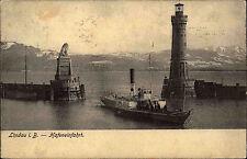 Lindau Bodensee Bayern Schwaben 1907 Schiff Dampfschiff Hafen mit Leuchtturm