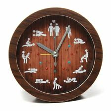 Small Round Wooden Color Table Clock With 12 Sex Position For Home Bedroom Decor