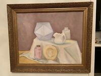 Vintage Oil Painting on Canvas Still Life Artist Toby Wolkk, Frame 24x20 Inches