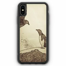 Vintage Pinguin & Vogel iPhone XS Max SILIKON Hülle Cover Tiere Schön Handyhü...
