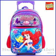 """Mermaid Backpack Disney Little Mermaid Ariel 16"""" Large School Rolling Backpack"""