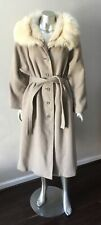 Arctic Fox Fur Collar Wool Vintage Belted Trench Long Midi Beige Jacket Coat L