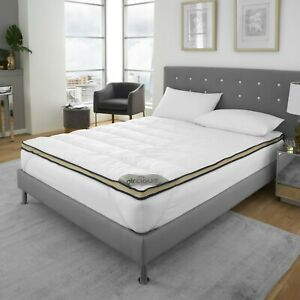 Luxury 100% polyester Mattress Topper 4cm Hotel Quality Soft Touch Carbon Fabric