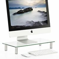 Fitueyes Clear Computer Monitor Riser Glass Laptop Desktop Stand Storage shelf