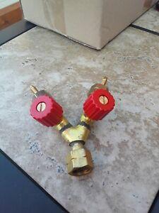 Bullfinch Brass 1263 Two Way Dual Gas Outlet Valve Adaptor Tee Piece Tap