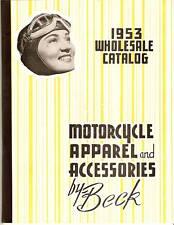 1953 Beck MOTORCYCLE APPAREL ACCESSORIES CATALOG H-D ++ Vintage PARTS Helmets ++