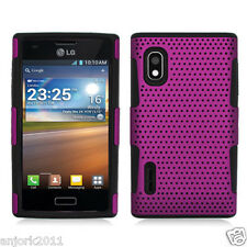 LG Optimus Extreme L40G Mesh Perforated Hybrid Case Skin Cover Purple Black