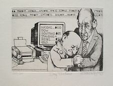 """CHARLES BRAGG """"DAY TRADERS"""" Hand Signed Limited Edition Etching STOCK MARKET"""