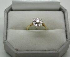 1970'S BEAUTIFUL 18ct GOLD nove pietra diamante anello di cluster