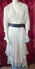 Edwardian 1910s Titanic Era Antique Net Lace Tiered Dress Embroidery Orig. Belt