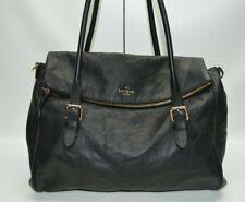Kate Spade Leslie Cobble Hill XL Black Pebbled Leather Flap Satchel