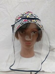 Chic Tweak Women's Floral Adjustable Baseball Hat Cap with Plastic Face Shield