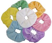 LARGE PASTEL SET OF 7 VELVET HAIR BAND ELASTIC HAIR SCRUNCHIE PONYTAIL HOLDER