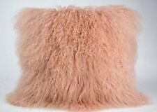 "Mongolian Pink Curly Wool Sheepskin Cushion 45x45cm/ 18"" Pillow & Cushion Inner"