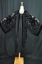 Art to Black Burnout Velvet Fringe Hippie Gypsy Kimono Opera Coat Duster Jacket