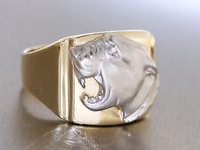 Schwerer Goldring 585 mit Pantherkopf - Ring Gold Panther 10 gr Herrenring RW 62