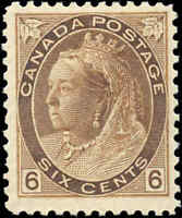 1898 Mint H Canada F+ Scott #80 6c Queen Victoria Numeral Issue Stamp