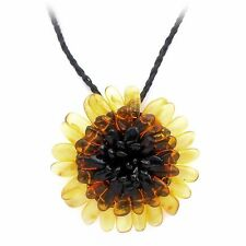 Natural baltic amber necklace flower