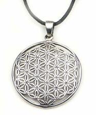 Blume des Lebens Anhänger Silber 925, Lebensblume D 25mm Amulett inkl. Lederband
