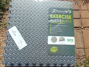 "PRO SOURCE FIT EXERCISE MAT 24""X24""X1/2"" GREY 24 SQUARE FOOT"