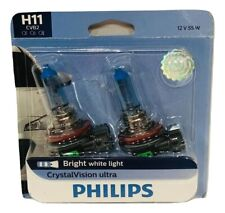 Philips H11 CrystalVision Ultra Upgrade Bright White Headlight Bulb, 2 Pack