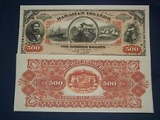 UNC RARE HISTROIC REPUBLIC OF HAAWAII $500  SILVER CERTIFICATE COPY