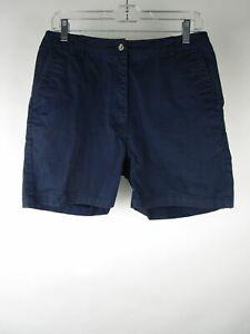 L.L. Bean Womens Blue Solid Cotton Flat Front Slash Pockets Chino Shorts Size 10