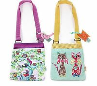 Santoro Coated Flat Cross Body Bag 2 Designs Wildwood & Cats in Bow Ties Zipped