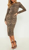 Ladies Leopard Print Long Sleeve Stretch Bodycon Women Midi Dress PLUS SIZE 8-26