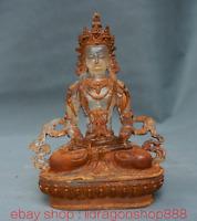 """8.8""""Temple bouddhisme du Tibet en cristal doré Amitayus longévité  déesse Statue"""