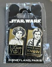 Star Wars Disneyland Paris May 4th LE pin badges, unopened packet Leia Han Solo