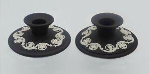 Wedgwood Arabesque Black Jasperware White Relief Pair of Candle Stick Holders