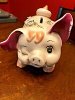 HTF Vintage Napco Japan Blinkey Pig Ceramic Bank, Hand Painted